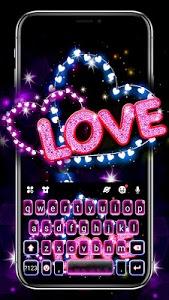 Download Neon Love Hearts Keyboard Theme APK
